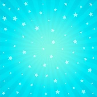 Sfondo blu con stelle e raggi