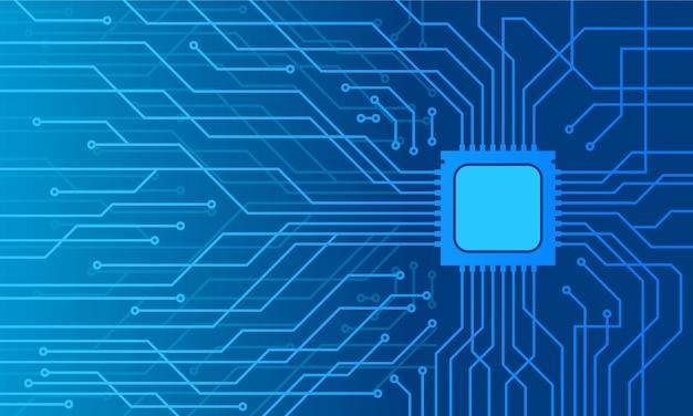 Sfondo blu della scheda madre di tecnologia