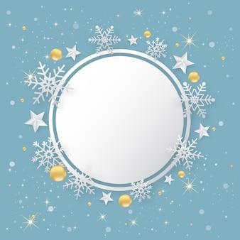 Sfondo blu di felice anno nuovo di natale con fiocco di neve e stelle.