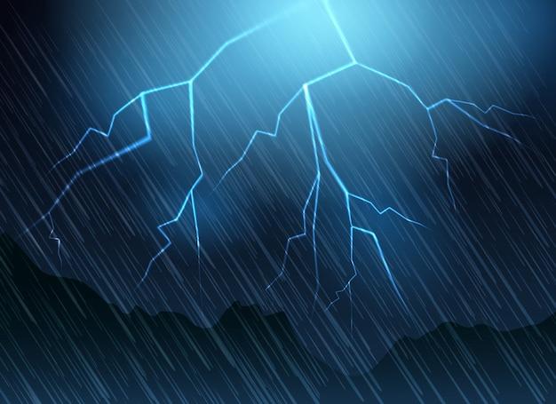 Sfondo blu di fulmini e pioggia