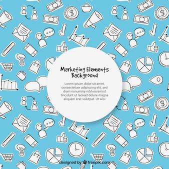 Sfondo blu elementi di marketing