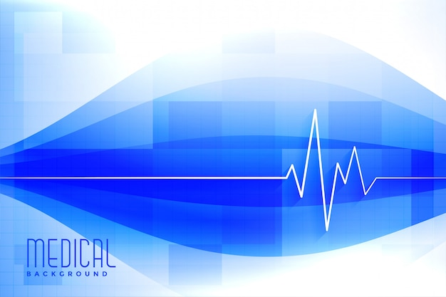 Sfondo blu medico e sanitario con la linea del battito cardiaco