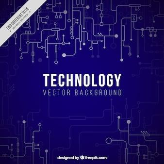 Sfondo blu scuro con collegamenti tecnologici