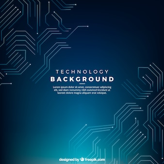 Sfondo blu scuro con i circuiti tecnologici