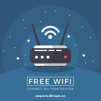Sfondo blu scuro con router in design piatto