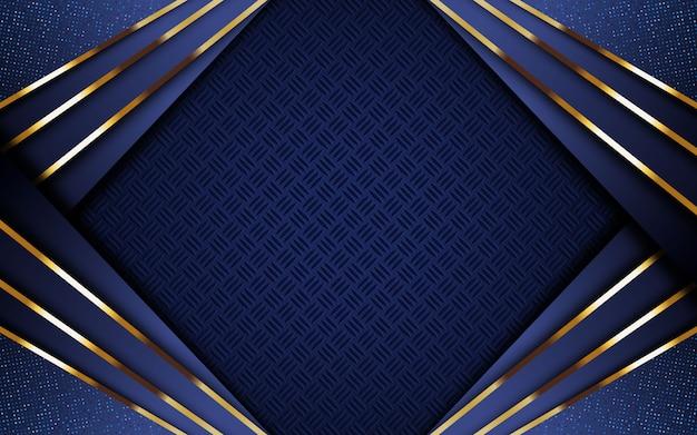 Sfondo blu scuro di lusso con striscia dorata e glitter