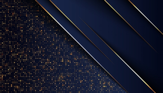 Sfondo blu scuro di sovrapposizione con linea di luce dorata