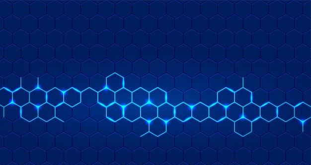 Sfondo blu tecnologia con esagono incandescente