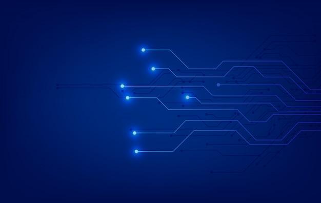 Sfondo blu tecnologia con schema elettrico