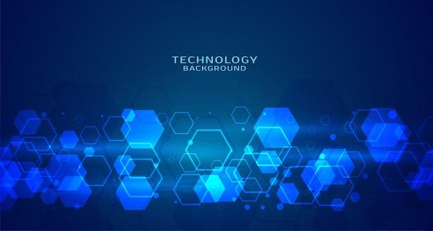Sfondo blu tecnologia esagonale moderno