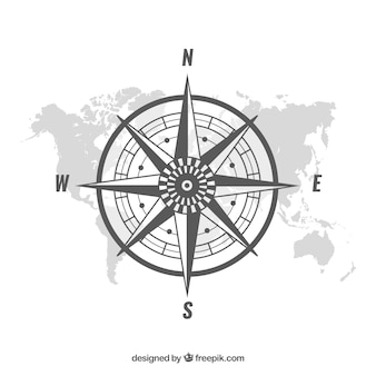 Sfondo bussola mappa piana