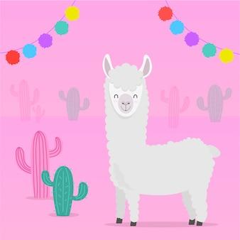 Sfondo cactus alpaca carino