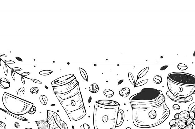 Sfondo caffè disegnato a mano