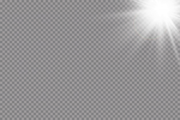 Sfondo caldo sole. raggi solari leto.bliki la luce bianca incandescente esplode su uno sfondo trasparente. con raggio. sole splendente trasparente, flash luminoso. speciale effetto luce riflesso lente.