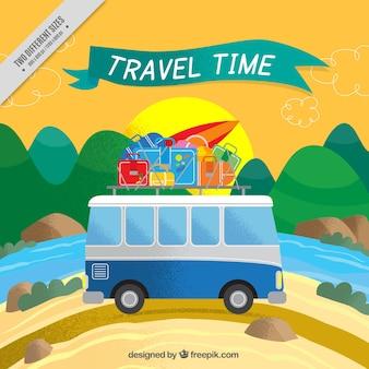 Sfondo caravan con i bagagli in un paesaggio