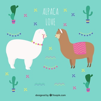 Sfondo carino alpaca con cactus