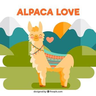 Sfondo carino alpaca nel paesaggio
