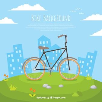 Sfondo carino con la bici e gli edifici