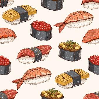 Sfondo carino sfondo senza soluzione di continuità con una deliziosa varietà di sushi disegnati a mano