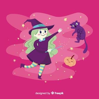 Sfondo carino strega di halloween