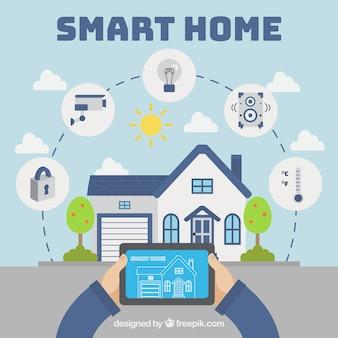 Sfondo casa intelligente con dispositivo mobile