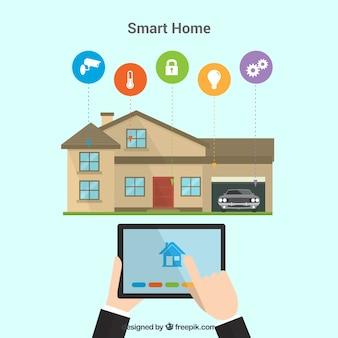 Sfondo casa intelligente con dispositivo