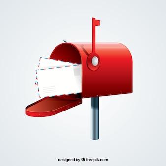 Sfondo cassetta postale rossa con le buste