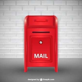 Sfondo cassetta postale rossa con muro di mattoni