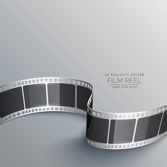 Sfondo cinema con striscia di pellicola 3d