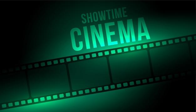 Sfondo cinema showtime con bobina di striscia di pellicola