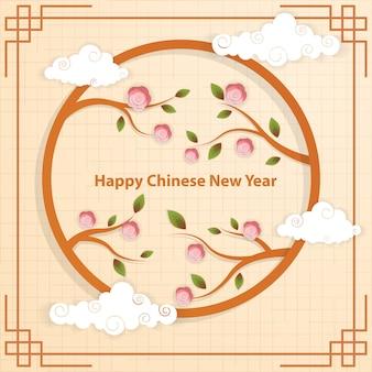Sfondo cinese con fiore