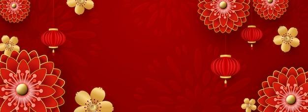 Sfondo cinese per auguri di capodanno. crisantemi rossi e fiori dorati di sakura.