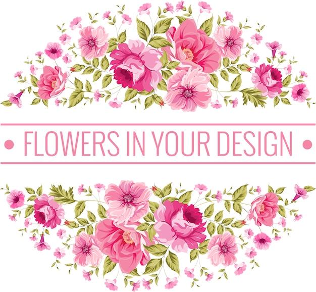 Sfondo circolare con fiori rosa