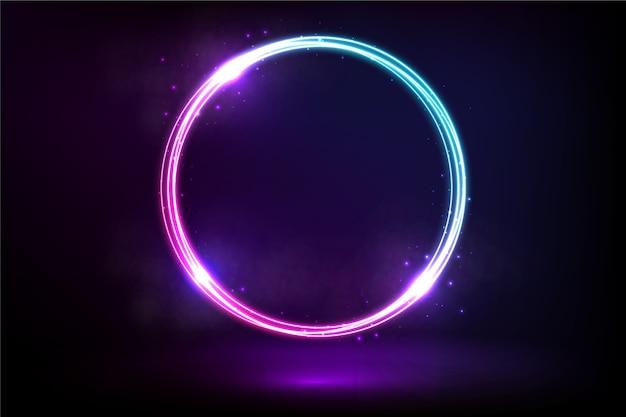 Sfondo circolare luce al neon viola e blu
