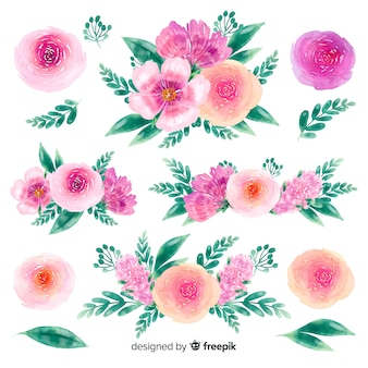 Sfondo collezione di bouquet di fiori disegnati a mano