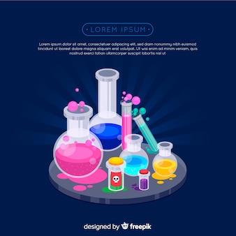 Sfondo colorato chimica piatta