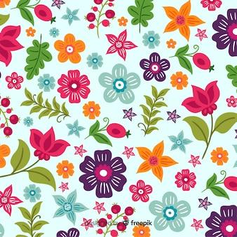 Sfondo colorato con bellissimi fiori e disegno floreale