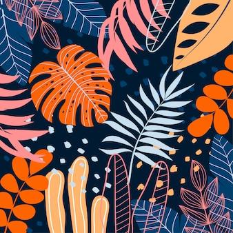 Sfondo colorato con piante tropicali e foglie