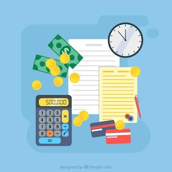 Sfondo colorato con soldi e documenti