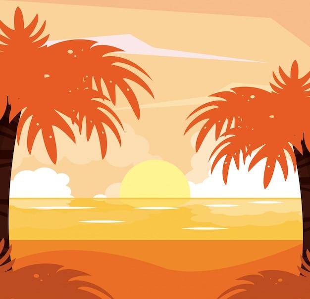 Sfondo colorato del paesaggio tramonto spiaggia
