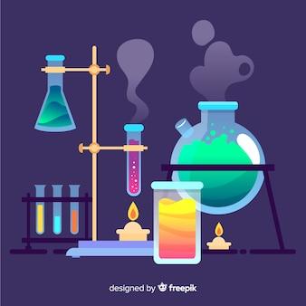 Sfondo colorato di chimica piatto