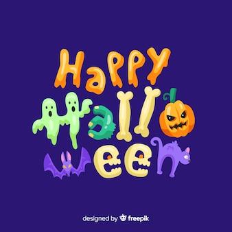 Sfondo colorato felice halloween lettering