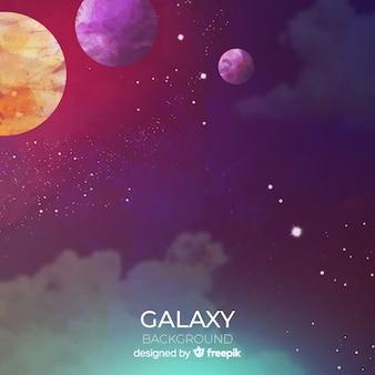 Sfondo colorato galassia ad acquerello