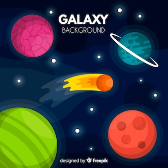 Sfondo colorato galassia con design piatto
