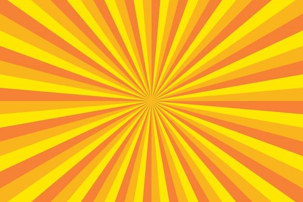 Sfondo colorato luminoso con linee radiali per illustrazione retrò in stile pop art