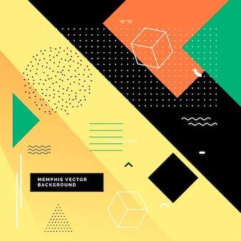 Sfondo colorato memphis con forme geometriche