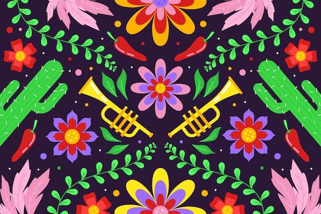 Sfondo colorato messicano in design piatto