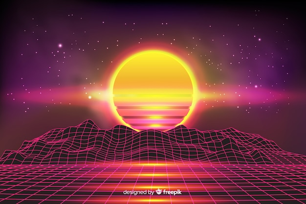 Sfondo colorato paesaggio futuristico retrò
