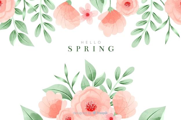 Sfondo colorato primavera con fiori ad acquerelli