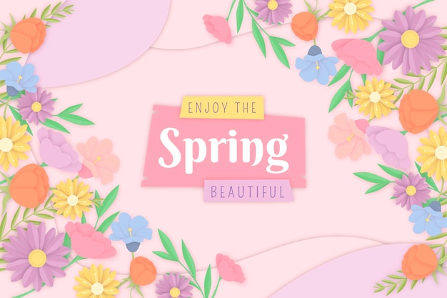 Sfondo colorato primavera in stile carta
